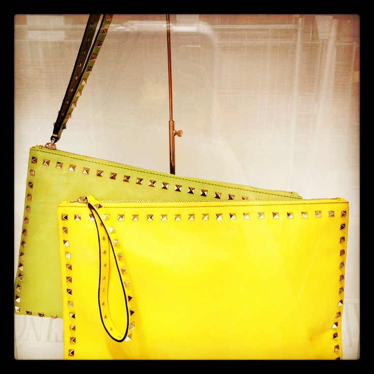 Acid green or Acid yellow? SS exclusive Rockstud accessories available at the Valentino Milan flagship store.