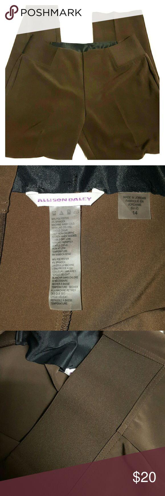 "Allison Daley brown slacks Elastic on waist polyester spandex blend 32"" inseam Brown Allison daley  Pants"