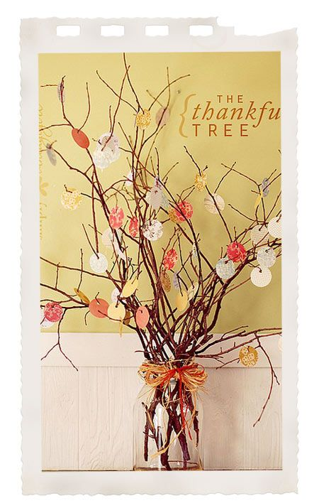 A Thankful Tree. Going to do this, this year. An empty glass jar, sticks (held in place by coffee beans), and paper leaves held on by scraps of fabric. Each day, or many times throughout, write something you're thankful for on a leaf.  Love it.