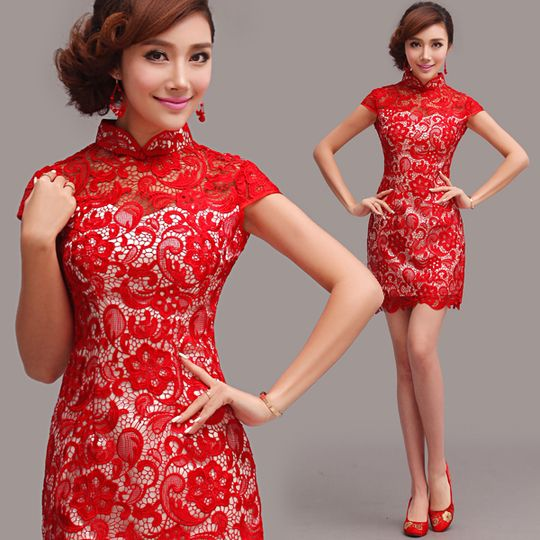 Shop elegant silk cheongsam, traditional Chinese red bridal dresses, sexy modernize Qipao from www.ModernQipao.com. Save 6% by share our products. Fully lace red modern qipao Chinese papercut inspired mandarin collar short cheongsam birdal dress