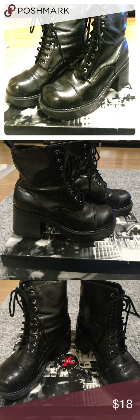 X Appeal Shoes, Penny style combat boots sz 6 1/2 Circa late 1990's, great condition, lightly worn, combat boots style, sz 6 1/2 X Appeal Shoes Combat & Moto Boots