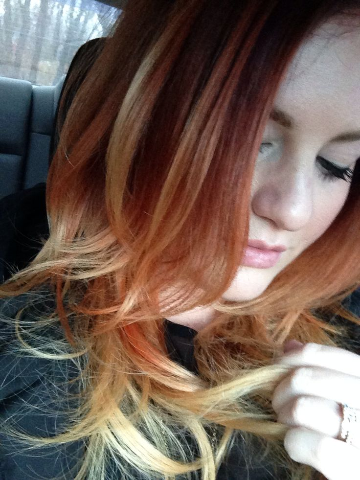 Orange ombré hair. Used 6RO on top, 7RO with 30vol and ...