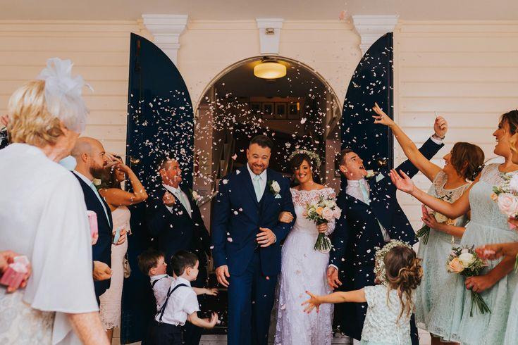 Confetti and selfies. Photo by Benjamin Stuart Photography #weddingphotography #confetti #selfie #justmarried #brideandgroom #groupshot #happydays #weddingday