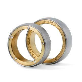 Trauringe Jochann Kaiser Eheringe außengravur weißgold Gold moderne Hochzeitsringe matt schlicht Platin
