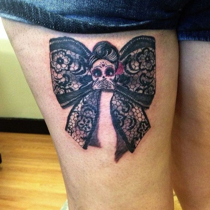 35 best bow tattoo my love images on pinterest female for Lace bow tattoo