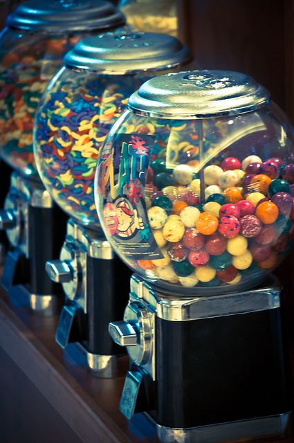 Gumball machines -- with gum for a penny!
