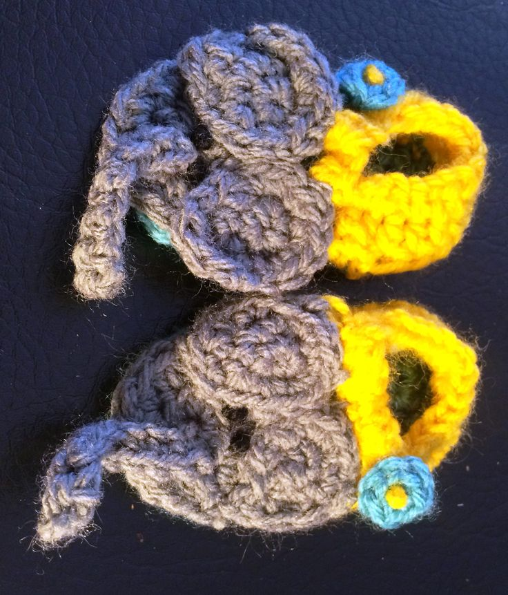 Elephant crochet sandal pattern. uses 8 ply and sole measures 9cm.