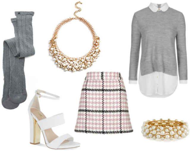 Plaid skirt, white collar shirt, grey sweater, grey socks, white heels, Pearl earrings, gold necklace