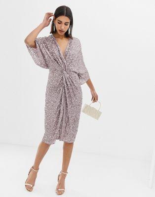 bd93411847 DESIGN scatter sequin knot front kimono midi dress in 2019