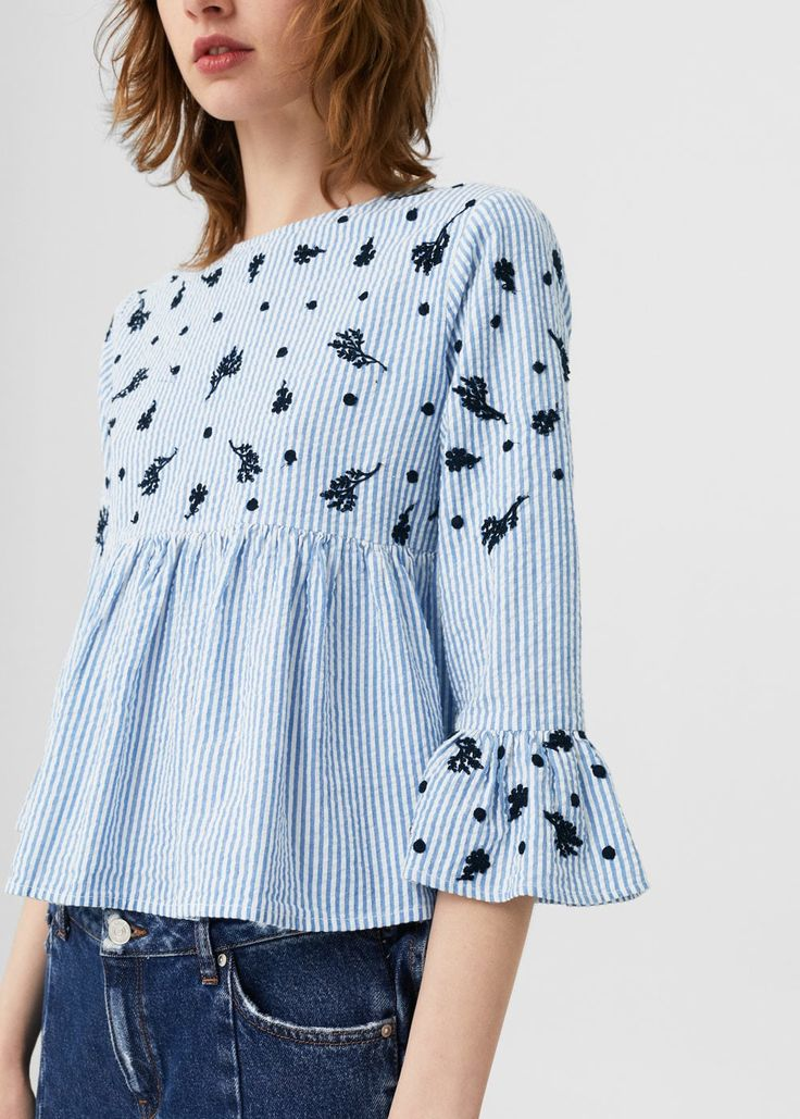 Blusa rayas bordada - Mujer | MANGO España