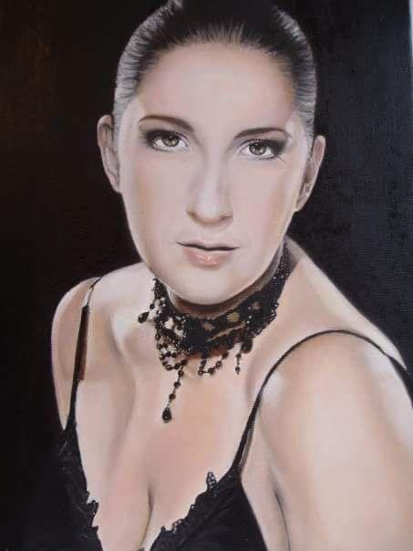 """""""Donna in nero - Ritratto di Eleonora"""" - dipinto originale - olio su tela - misure: 30 x 40 cm. - anno: 2008"""