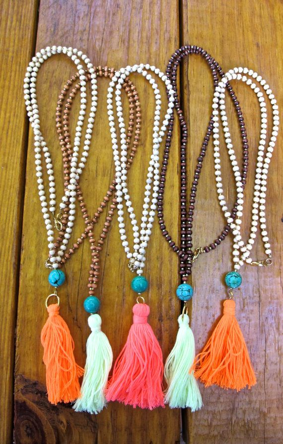 Long Wooden Beaded Tassel Necklace + Round Green Turquoise Stone Bead