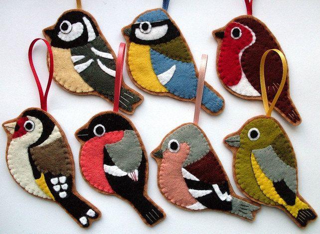 British Birds, set of 7 felt Christmas decorations