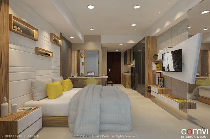 Desain interior kamar tidur modern - Suasana yang sejuk dengan warna furniture dan pencahayaan yang menyatu dengan alam dimaksudkan agar penghuni merasa nyaman dan tenang setelah melakukan aktivitas di luar.