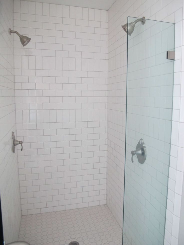 An example of using vertical subway tiles to create a subtle patter and break in the overall look.