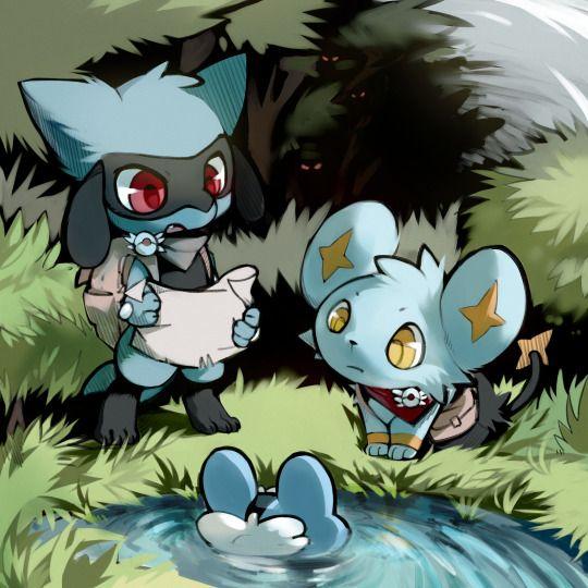 riolu, shinx y froakie, pokemon mystery dungeon
