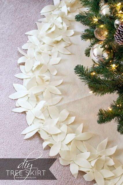 This soft white floral-fringed tree skirt is blissfully no-sew — so anyone can recreate it. Get the tutorial at Live Love DIY »