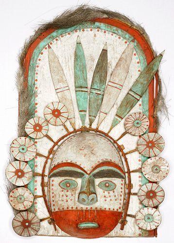 Masque représentant le soleil, Archipel de Kodiak, Alaska, collecté en1871/2 par Alphonse Pinart (1852-1911)
