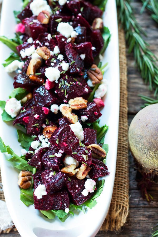 A roasted beet recipe filled with goat cheese, pecans, rosemary and thyme. It is gluten free and vegetarian!
