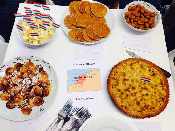 It's #CulturalFriday at blur - we have introduced some Dutch food: Top left: Edammer kaas (or Edam Cheese) Top middle: Stroopwafels Top right: Pepernoten Bottom left: Poffertjes Bottom right: Appelkruimel vlaai