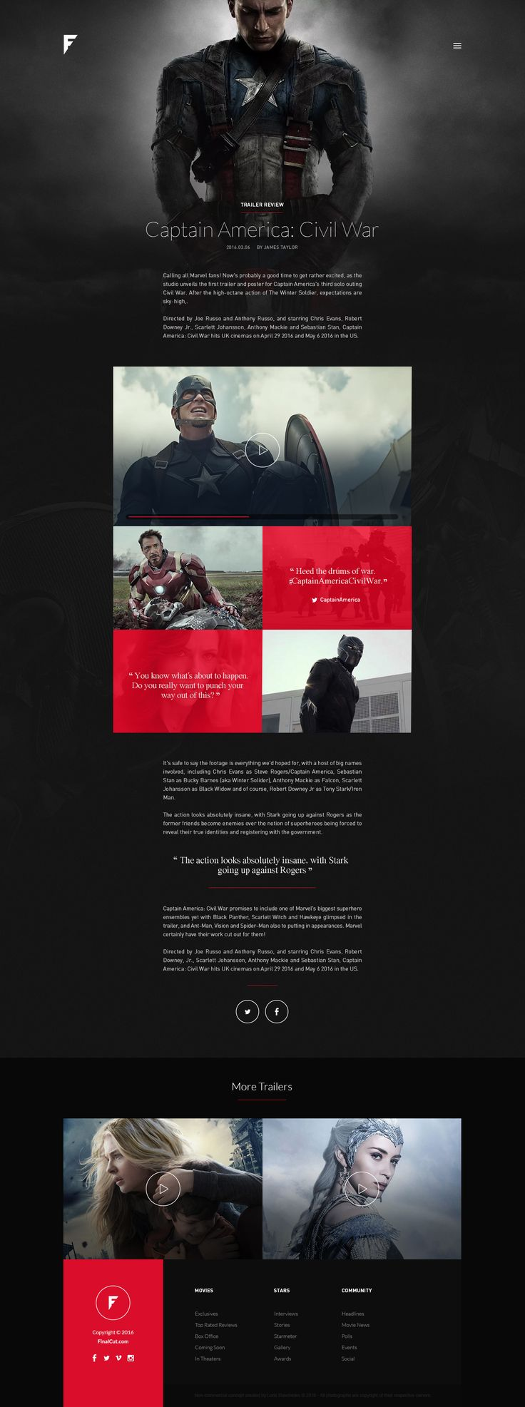 Concept design for an online magazine portal on the world of movie blockbusters, stars and big screen news. FinalCut aims to be a more cutting-edge, mature, and modern approach to movie reviews and exclusive news & interviews. This is a personal non-comme…