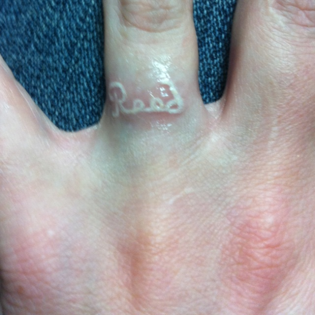 White Ink Tattoos Wedding Ring: My Husbands Name Tattooed On My Ring Finger. Love Him