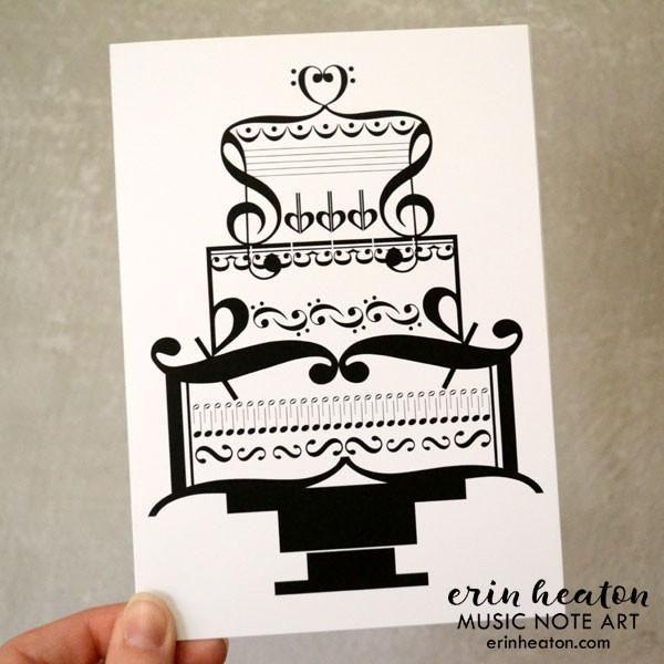 Music Wedding Cake Card