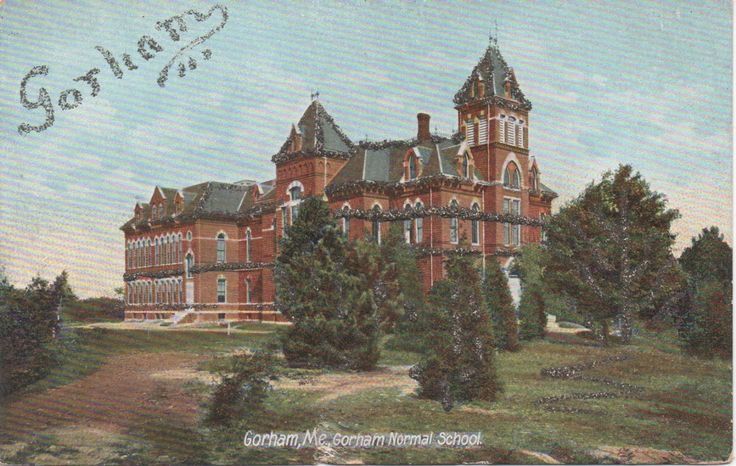 1 Unused Postcard, Gorham Normal School, Gorham, Maine, c1920s, fair shape, with glitter by VintageNEJunk on Etsy