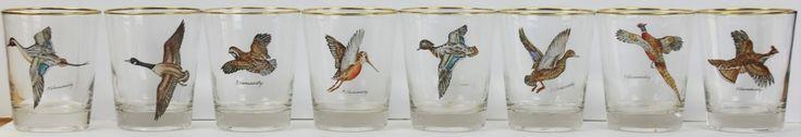 Set of (8) Frank Vosmansky Gamebird Old Fashioned Glasses