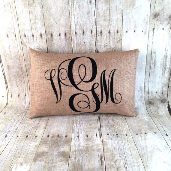 Free Shipping flocked velvet Burlap Monogram Pillow by HomeGlow