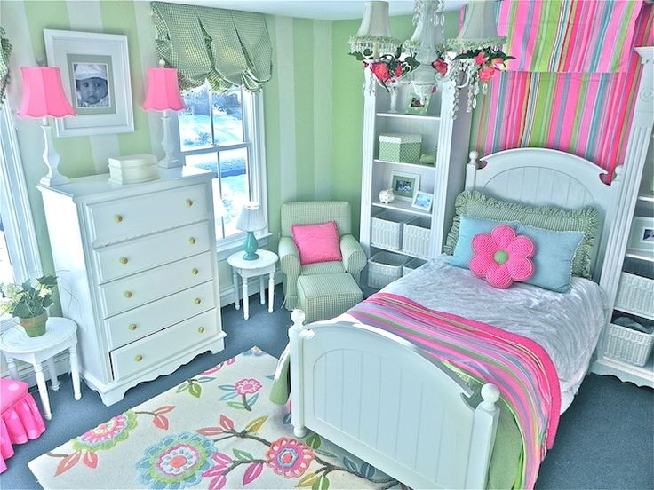 girl's rooms - colorful, pink, green, blue, girl's room, traditional, painted, stripes, floral, flower rug,  Colorful girl's room by Stacy Curran,