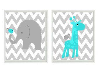 etsy Sleepy King | Nursery Art - Elephant Giraffe Bird - Chevron Turquoise Gray - Baby ...