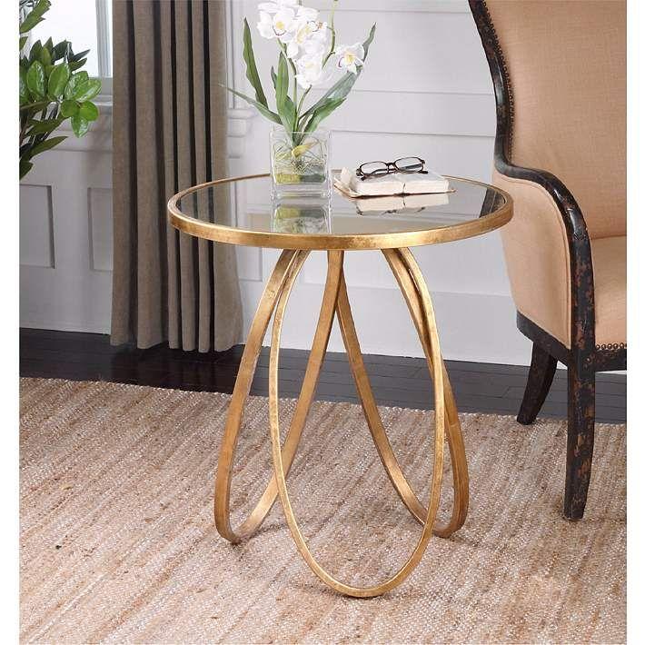 Montrez 24 Wide Glazed Gold Leaf Mirror Accent Table 6n269 Lamps Plus Gold Accent Table Mirrored Accent Table Round Accent Table