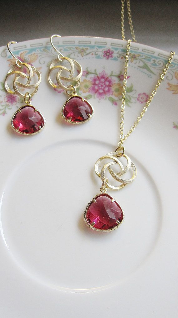 Gold Swirl Earring Necklace Set Red Garnet Jewel by gardendiva, $48.00