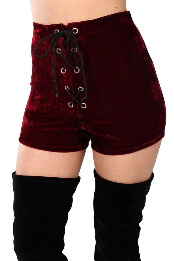 Hex Lace Up Velvet Shorts More Colours Available by velvetcave