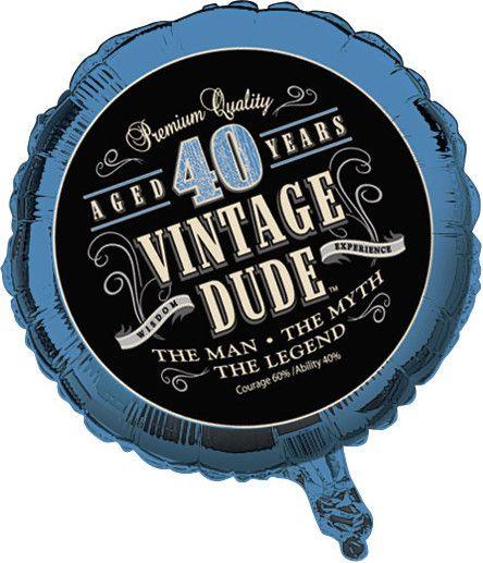 40th Vintage Dude Metallic Balloon