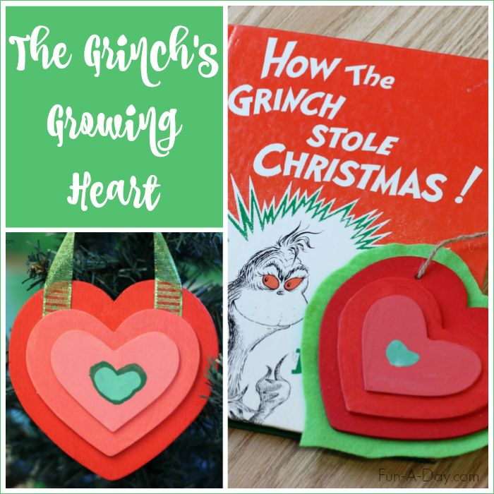 "A homemade Christmas ornament the family can make together based on Dr. Seuss' ""How the Grinch Stole Christmas."" The Grinch's growing heart ornament!"