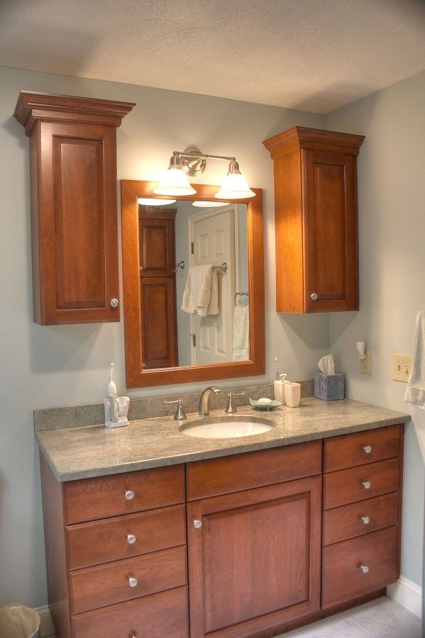 Cherry Wood Bathroom Granite Countertop Two Wall Cabinets With Eight Drawer Cabinets For