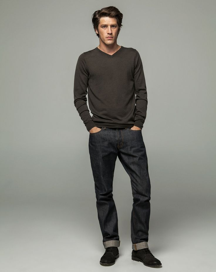 Workshop Denim  Wool Cashmere V Neck - Coffee, Mens Slevedge - Dark Indigo