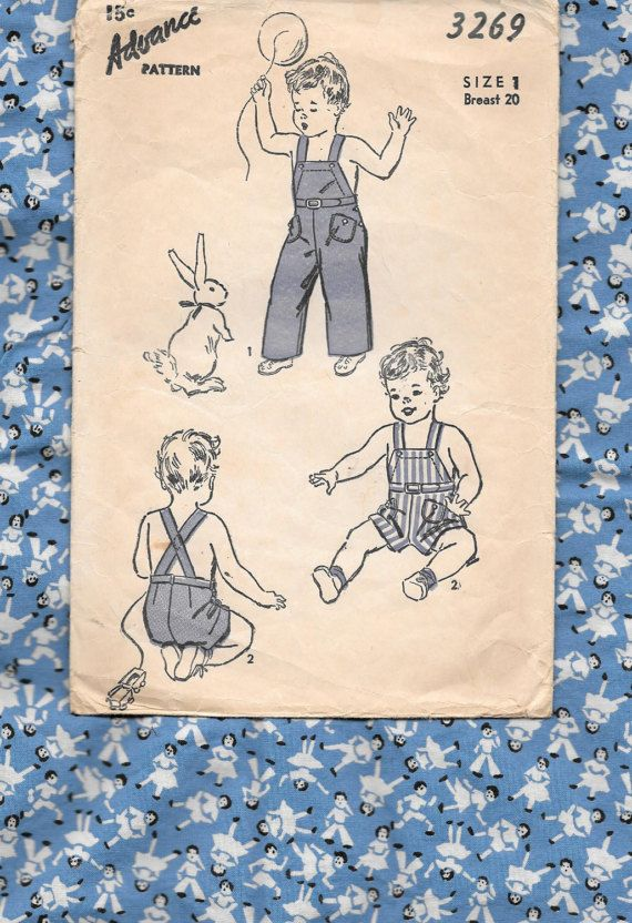 1940s Baby OVERALLS  Vintage Sewing Pattern  SIZE 1 Breast