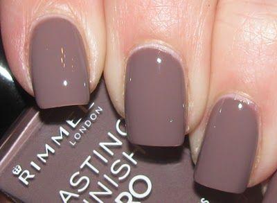 Rimmel nail polish in Steel Gray.  A muddy grayish brown shade