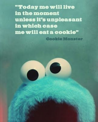 I find it slightly disturbing that this has become my life philosophy. The Cookie Monster causes me to rethink my life... :)