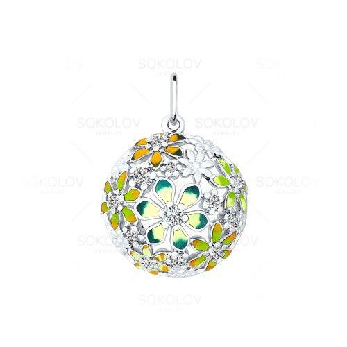 Серебряная подвеска с цветами из разноцветной эмали