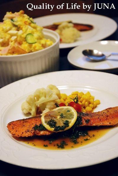 鮭のムニエル レモンパセリソース & おいしいポテサラ by JUNA ...
