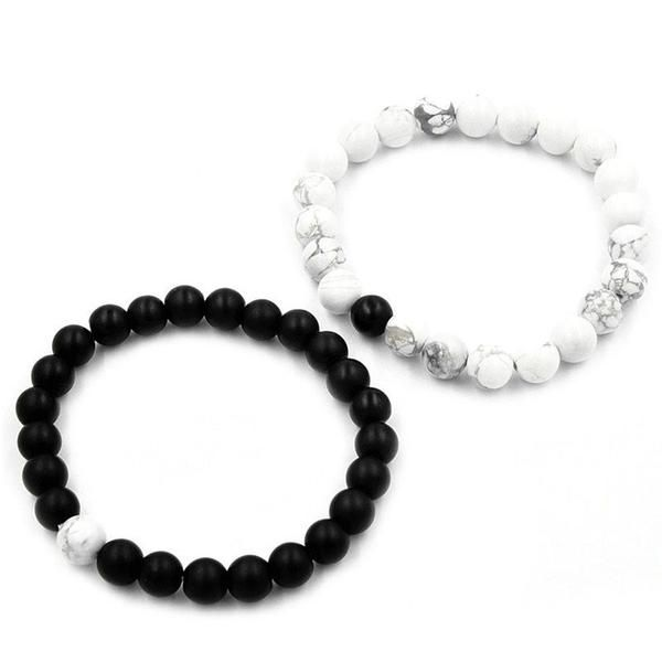 NEW Connected Healing Balance Lovers Bracelets. Bead Size: 8mm White Howlite Length: 19cm Black Matte Agate Length: 20cm