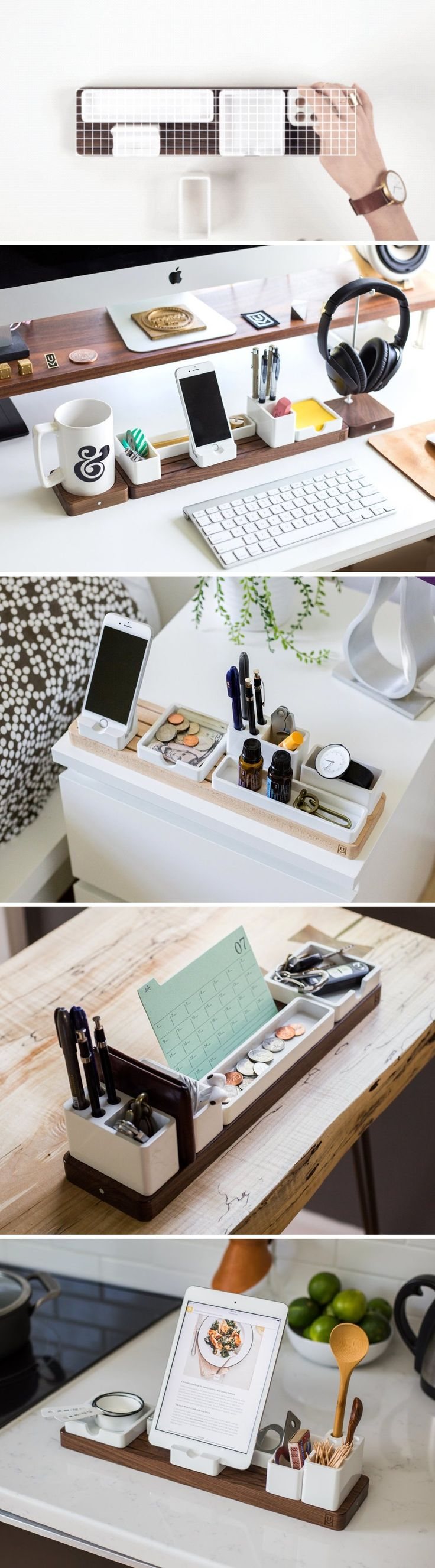 A modular desk organizer that can adapt in hundreds of ways and can organize your space, whether you have more clutter or less, while keeping everything accessible, whether you're left-handed or right-handed. Buy now!