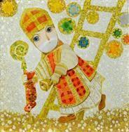 Jan Kudláček: Postava svatého Mikuláše držící v ruce berlu a punčochu s nadílkou: sešel po žebříku z nebes a jde nadělovat dětem. Nad Mikulášem svítí hvězdy