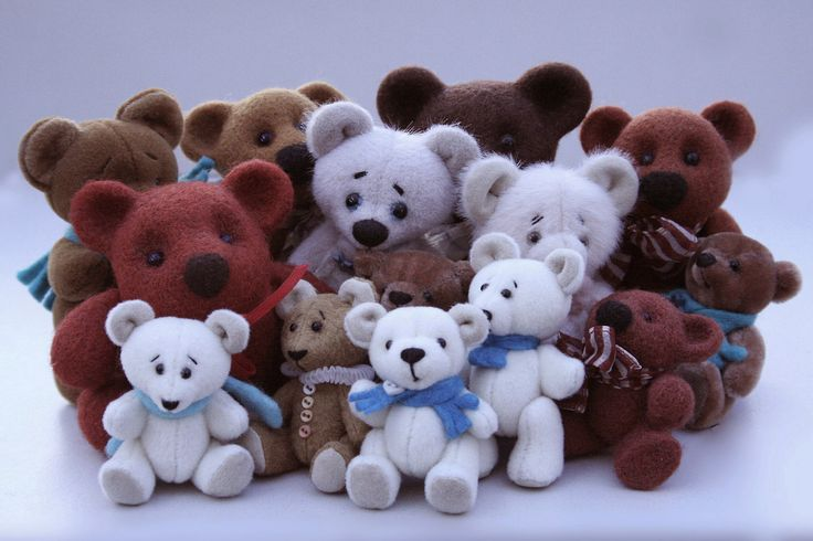 Tiny teddy bears. Height of the largest - 10 centimeters.