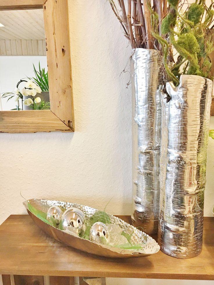 Schale aus gehämmertem Metall, Silber, Dekoschale, ca. 50 cm lang
