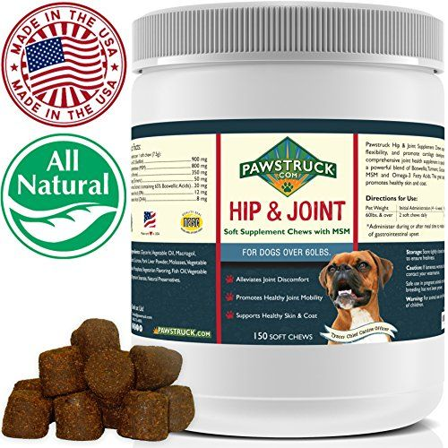 Natural Hip and Joint Supplement for Dogs in Bulk  Soft Chew Pain Relief  Prevention Glucosamine For Dogs w Chondroitin  MSM for Healthy Canines Made in USA Large  Giant Dogs  150 Count -- You can find out more details at the link of the image. (This is an affiliate link) #dogfood